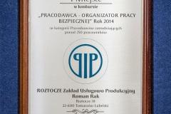 Roztocze_Organizator-Bezpiecznej-Pracy_2014